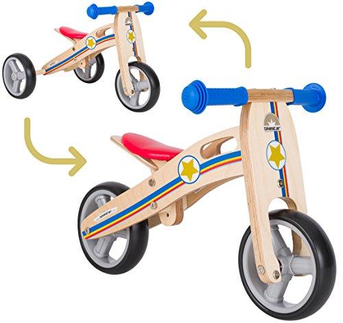 BIKESTAR Mini Kinder Laufrad Holz Lauflernrad mit DREI Rädern für Jungen und Mädchen ab 1 – 1,5...