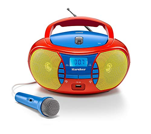 Karcher RR 5026 tragbares CD Radio - bunte Kinder-Boombox mit CD-Player, UKW Radio, USB & Mikrofon -...