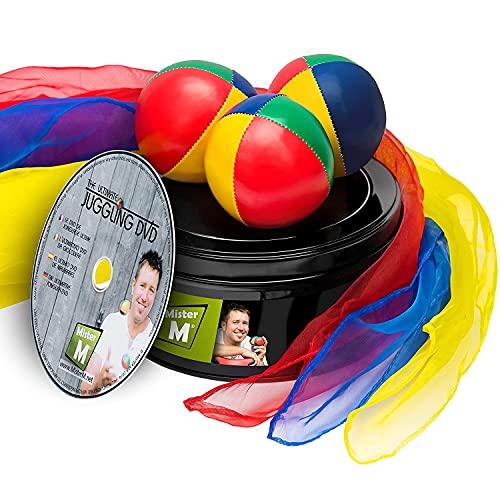 Mister M ✓ 3 Jonglierbälle ✓ 3 Jongliertücher ✓ Lern DVD in Einer Geschenkbox ✓ Das Ultimative...