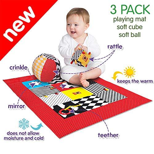 MACIK B&W Baby Spielzeug Set 3- SpielMatte + Rassel Baby Ball+ Würfel Knitter und Rassel Spielzeug-...