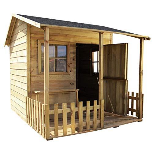 GardeTech Spielhaus Malvina aus FCS-Holz mit überdachter Terrasse, B190,5 x T143 x H159 cm, Gewicht 190...