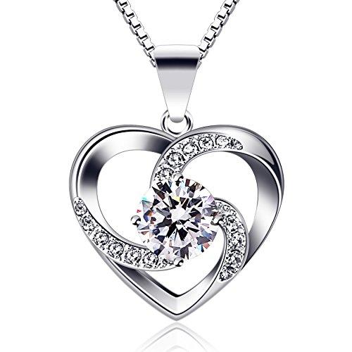 B.Catcher Kette Herz Damen Halskette 925 Sterling Silber Anhänger ''Liebe ist das Glück'' Schmuck...