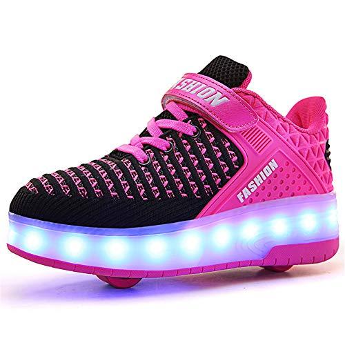 Unisex Kinder Jungen Mädchen LED Rollschuh Schuhe mit USB Aufladen Blinken Leuchtend Skateboardschuhe...