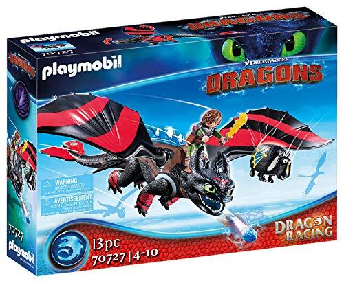 PLAYMOBIL DreamWorks Dragons 70727 Dragon Racing: Hicks und Ohnezahn, Mit Lichtmodul, Ab 4 Jahren