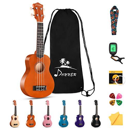 Donner Sopran Ukulele 21 Zoll für Kinder Anfänger Ukulele Mahagoni Starter Kit mit Nylon Saiten Hawaii...