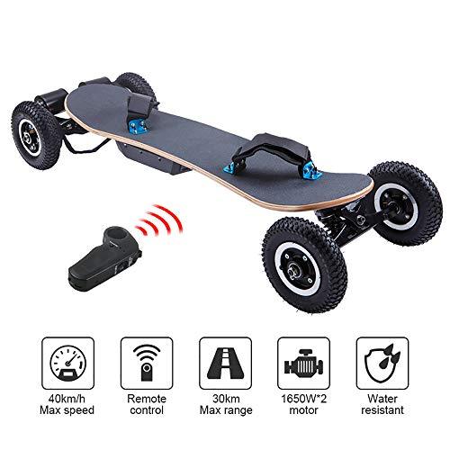 WOTR Off Road Elektro-Skateboard, 1650W Motor Berg Longboard mit Dual-Motoren - All-Terrain, 4 Rädern,...