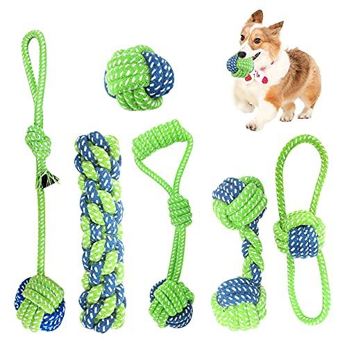 Hundespielzeug Seil 6 Set, Hergestellt aus Natürlicher Baumwolle für Zahnreinigung Geeignet,...