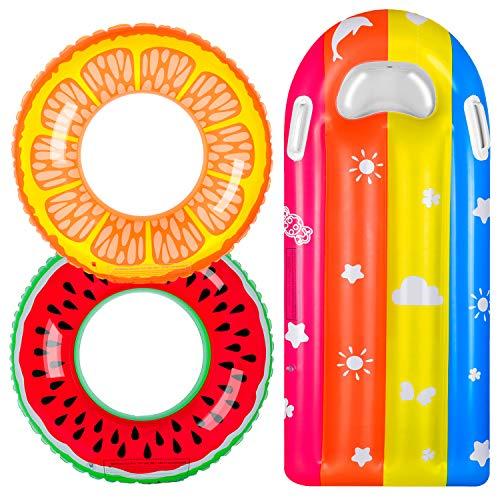balnore Schwimmring, 3 Stück Schwimmreifen für Kinder Erwachsene mit Sommer Obst, Kinder Luftmatratze...