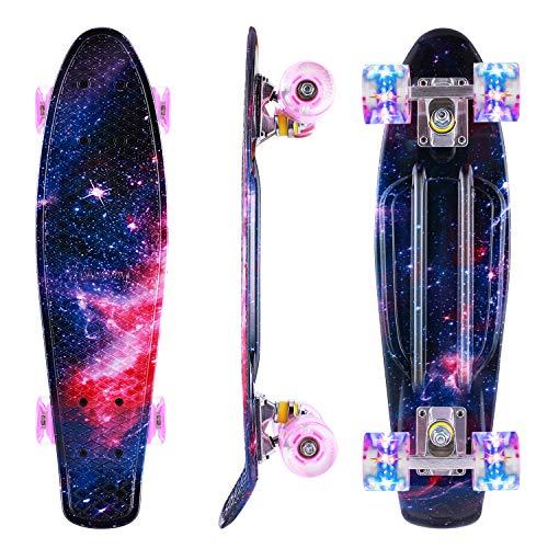 Caroma Skateboard für Mädchen Jungs, Penny Board, 22 Zoll/55cm komplettes Mini Cruiser Skateboard mit...