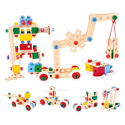 Bino Holz-Baukasten im Eimer, Spielzeug für Kinder ab 3 Jahre, Kinderspielzeug (Konstruktionsspielzeug,...