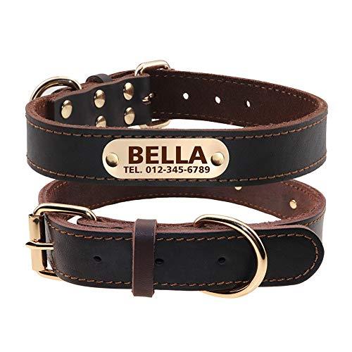 TagME Personalisierte Hundehalsbänder aus Leder mit Eingraviertem Namen und...