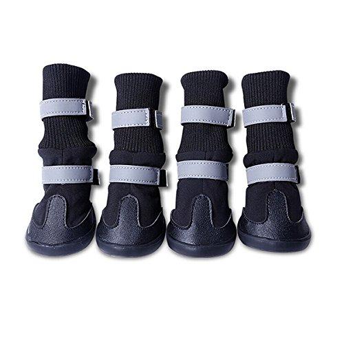 UEETEK 4pcs wasserdichte Hund Stiefel für mittlere bis große Hunde - Größe XL (schwarz)