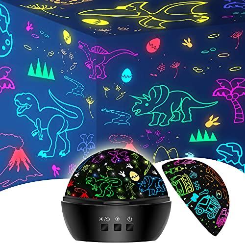 Dinosaurier Spielzeug für Jungen 3-9 Jahre, 2 in 1 Kinder Spielzeug Deko Weihnachten Nachtlicht...