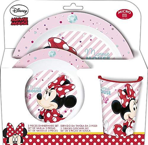 Minnie Mouse 895256 Geschirr, Melamin, 3 Teile, 24 x 24 cm