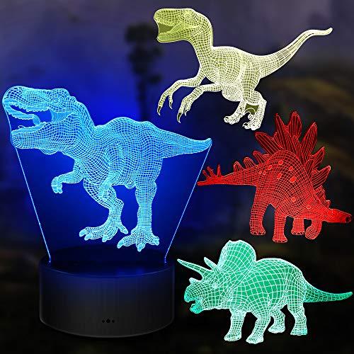Dinosaurier Nachtlicht Geschenke, 4PCS Nachtlampe Spielzeug mit 16 Farbwechsel und Fernbedienung,...