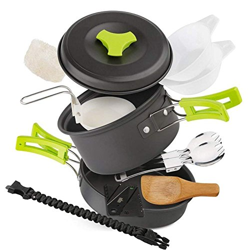 EXTSUD Camping Kochgeschirr Campinggeschirr Ultraleicht Picknick 12-Teilig Cookware Kit mit feuersteine...