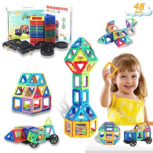 HOMOFY 48PCS Magnetische Bausteine - Konstruktion Bauen Blöcke Set Spielzeug Teilen für Kinder...