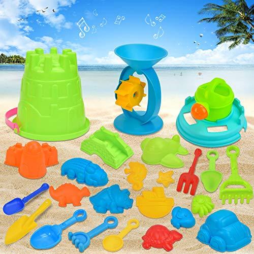 KATELUO 25PCS sandspielzeug Set,Sandspielzeug,sandkasten Spielzeug,Sand Strand Spielzeug für Kinder,Netz...