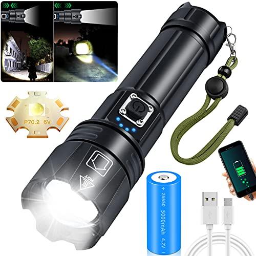 Amzyigou LED Taschenlampe Extrem Hell, CREE XHP70.2 LED 10000 Lumen Taschenlampe Aufladbar, IPX67...