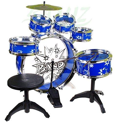 BSD Steinbach Kinderschlagzeug, Schlagzeug mit Hocker und 2 Trommelstöcken, Schlagzeug Drumset, Kinder...