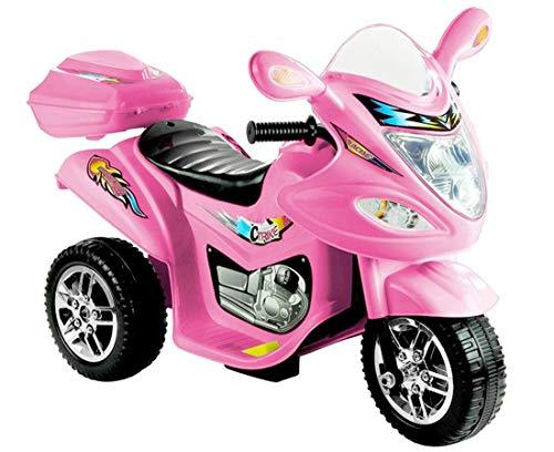 fit4form Kinder Elektro Trike Fire Elektromotorrad 6 V Pink mit Frontscheinwerfer und Topcase rosa