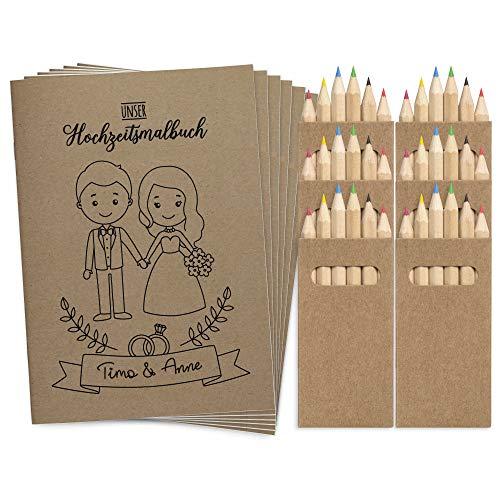 Wedding Shop Love Grows 6 Stück DINA6 Hochzeitsmalbuch mit Buntstifte-Set / 24-seitiges Malbuch zur...