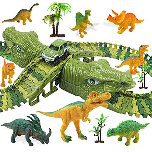 MOOKLIN ROAM 153 Stück Dinosaurier Rennbahnen - Dinosaurier Auto Spielzeug Cars Puzzles Rennstrecke...