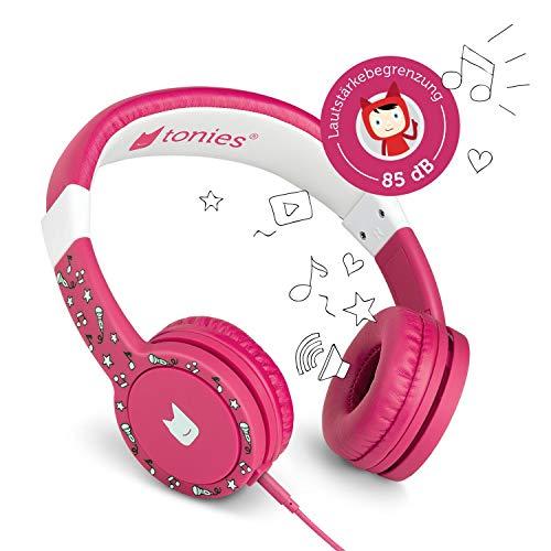 Tonie-Lauscher pink: Kinder Kopfhörer passend zur Toniebox - Lautstärke reguliert, Abnehmbares Kabel,...