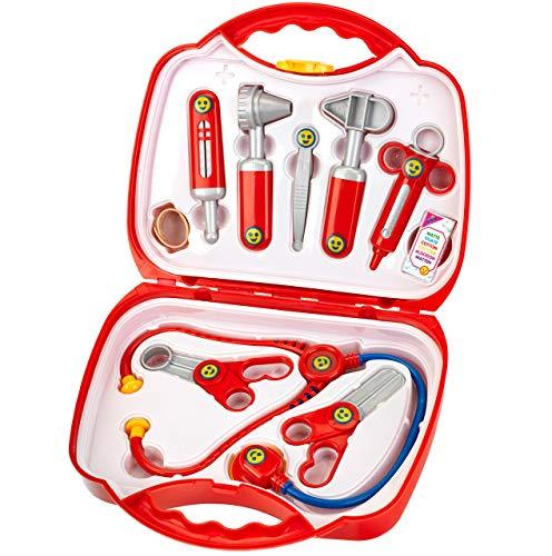Theo Klein 4383 Arztkoffer I 14-teiliger Doktorkoffer mit Stethoskop, Thermometer, Spritze und...