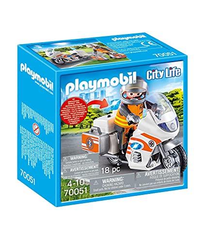 PLAYMOBIL 70051 City Life Notarzt-Motorrad mit Blinklicht, bunt