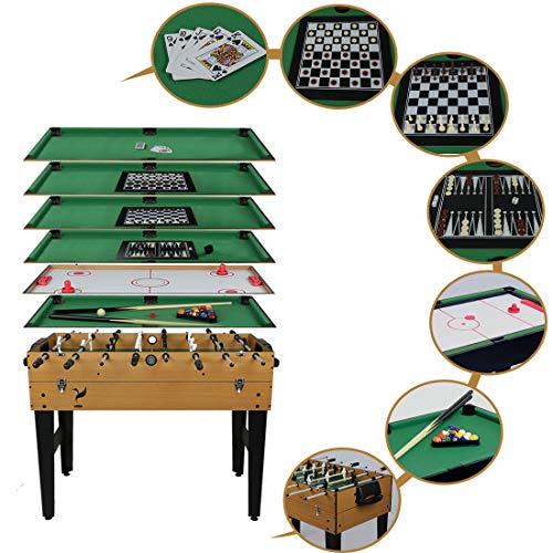 Hyner 7-in-1 Multifunktionaler Spieltisch mit Tischfußball, Billardkugeln, Airhockey, Schach, Dame,...