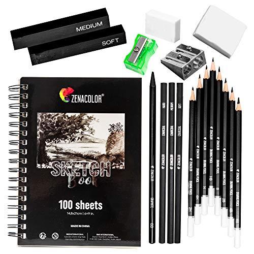 Zenacolor Komplettes Zeichen-Set - Anfänger oder Profi - 19 Zubehörteile: 8 Bleistifte, 3 Kohlestifte,...