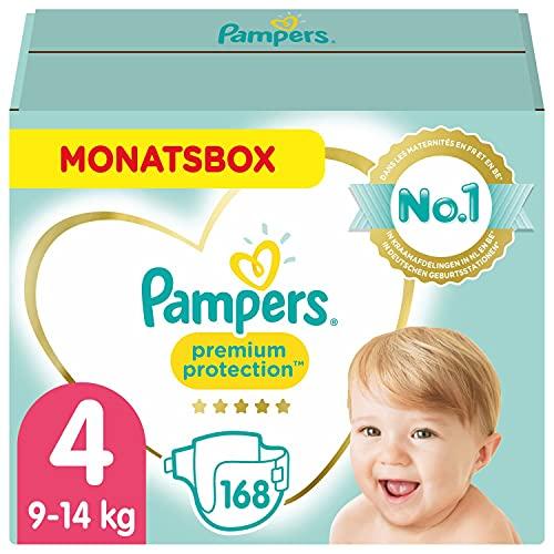 Pampers Baby Windeln Größe 4 (9-14kg) Premium Protection , 168 Stück, MONATSBOX, Weichster Komfort Und...