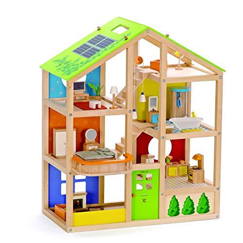 Hape Vier-Jahreszeiten Puppenhaus aus Holz von Hape | Preisgekröntes dreistöckiges Puppenhaus mit...