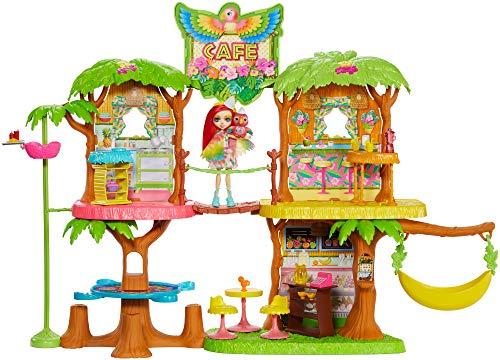 Enchantimals GFN59 - Dschungelwald Café Puppenhaus Spielset mit Papagei Puppe und Tier, Puppen Spielzeug...