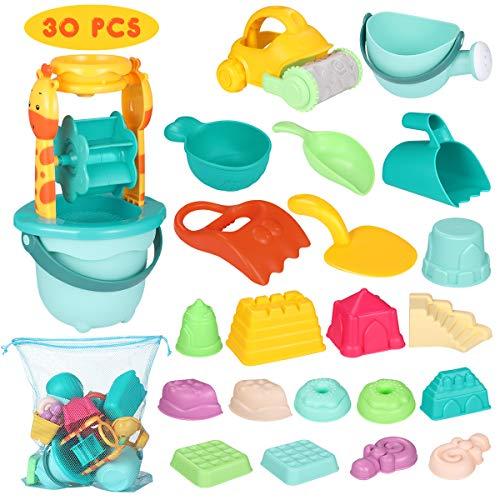 iBaseToy 30 teiliges Strandspielzeug Set Strand Sandspielzeug-Spielset für Kinder Sandkastenspielzeug...