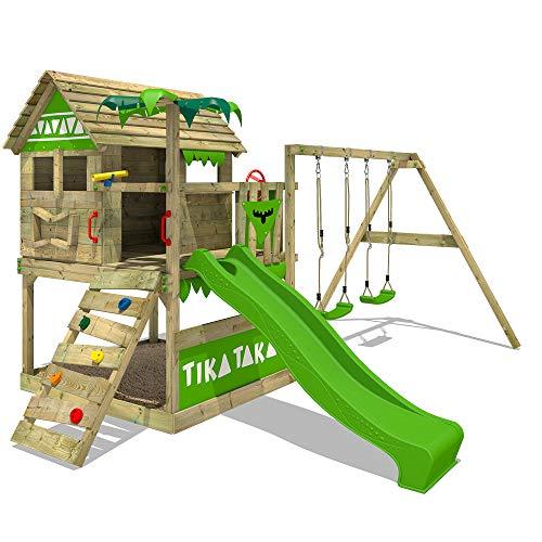 FATMOOSE Spielturm TikaTaka Town XXL - Klettergerüst mit Stelzenhaus, Schaukel, Kletterleiter,...