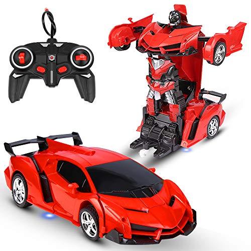 Vivibel Ferngesteuertes Auto RC Transformator Roboter Auto 360 °Drehung Bremsungs wiederaufladbares...