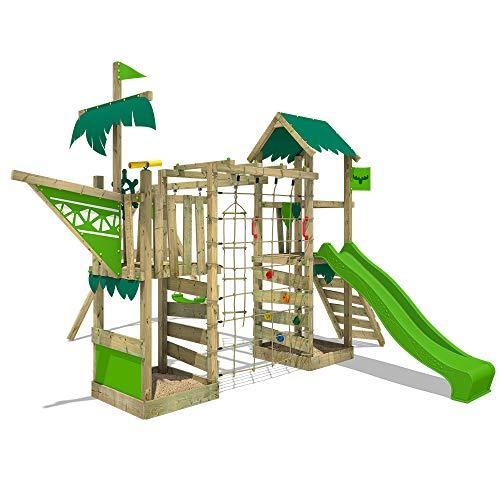 FATMOOSE Spielturm Klettergerüst WaterWorld mit Schaukel & apfelgrüner Rutsche, Spielhaus mit...