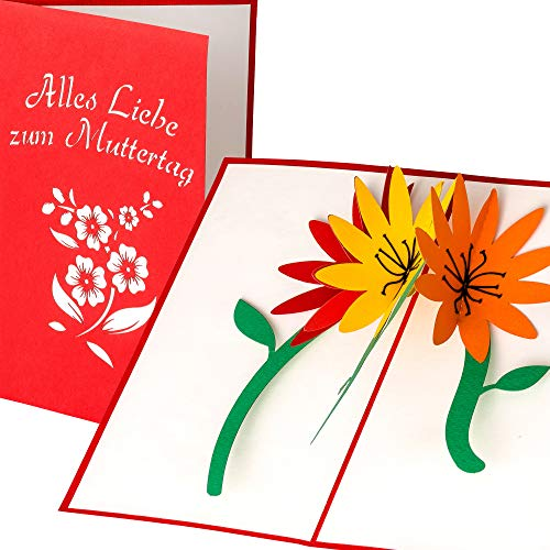 LuckeeCards® 3D Muttertagskarte - 3D Blumen Motiv - Alles Liebe zum Muttertag - elegante, handgefertigte...