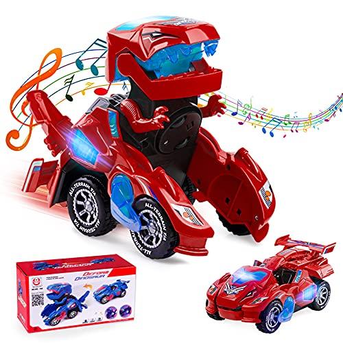 Ltteaoy Dinosaurier Auto Transformers Spielzeug, Transformable Auto mit LED Licht, Musik und...