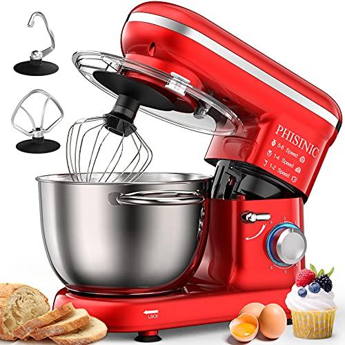 PHISINIC Küchenmaschine Knetmaschine 1500W Teigmaschine Rührmaschine mit 5,5 L Edelstahl Schüssel 6...