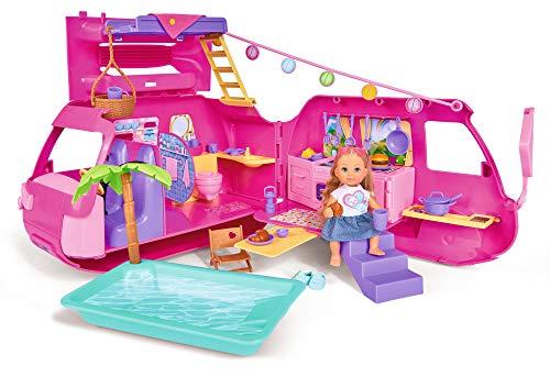 Simba 105733275 - Evi Love Ferienspaß Wohnmobil / Aufklappbares Wohnmobil / Mit über 40 Teilen / Puppe...