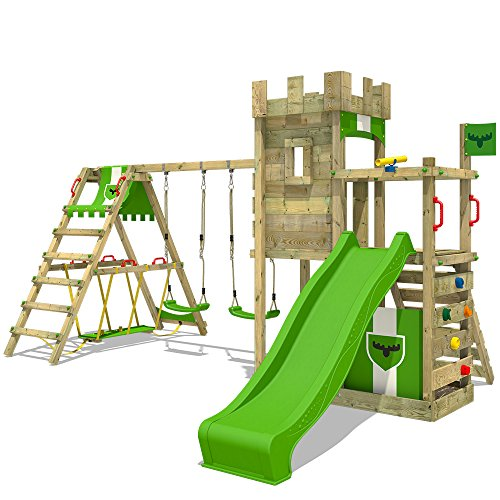 FATMOOSE Spielturm Klettergerüst BoldBaron Boost XXL Spielplatz Ritterburg mit Surfanbau und...