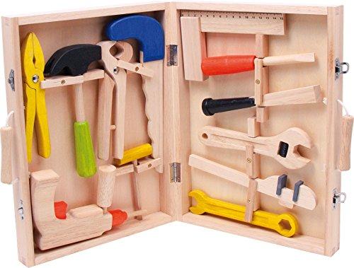 """small foot 2079 Werkzeugkoffer """"Lino"""" aus Holz, mit 12 Spielwerkzeugen von Hammer bis zur..."""