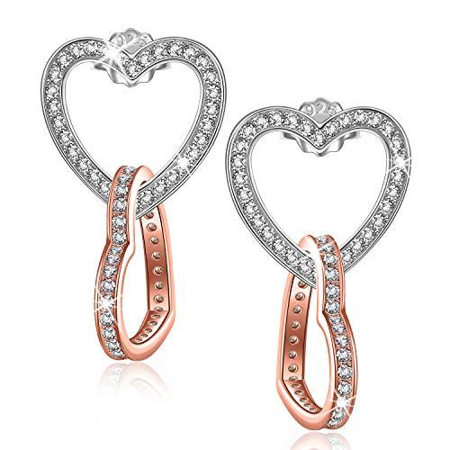 Kami Idea Herz Ohrring Geschenke für Frauen Ohrringe Silber 925 Handmade Ohrringe Gold Ohrstecker Silber...