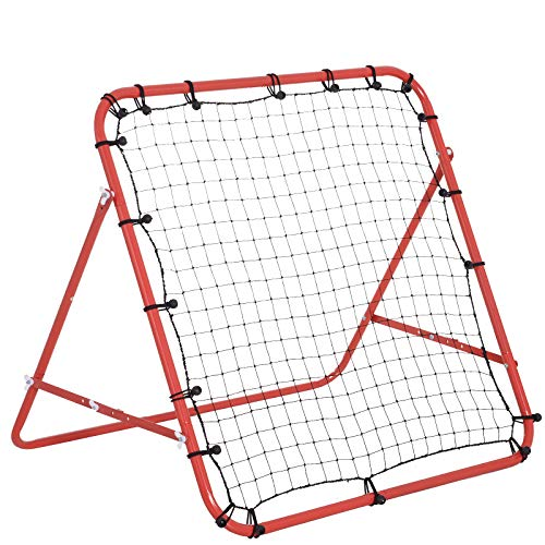 HOMCOM Fußball Rebounder Kickback Tor Rückprallwand Netz, Metallrohr+PE Gewebe, 96 x 80 x 96 cm, Rot
