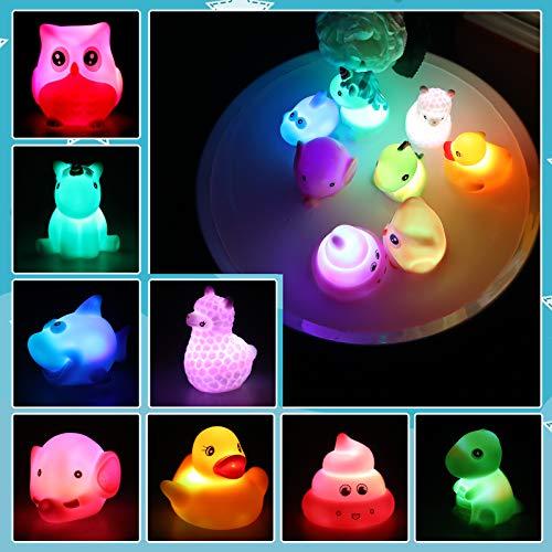 Lictin Badewannenspielzeug - 8 Stück Niedliches Tier LED Licht Badespielzeug Set, Wasserspielzeug Kinder...