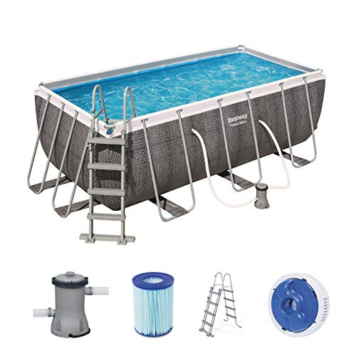 Bestway Power Steel Deluxe 412x201x122 cm, Frame Pool eckig im Komplett Set in Rattan-Optik, inklusive...