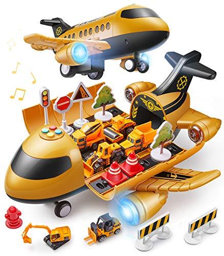 GeyiieTOYS Flugzeug Spielzeug mit Auto Helikopter Zubehör Spielzeugautos Pilot Rollenspielzeug...